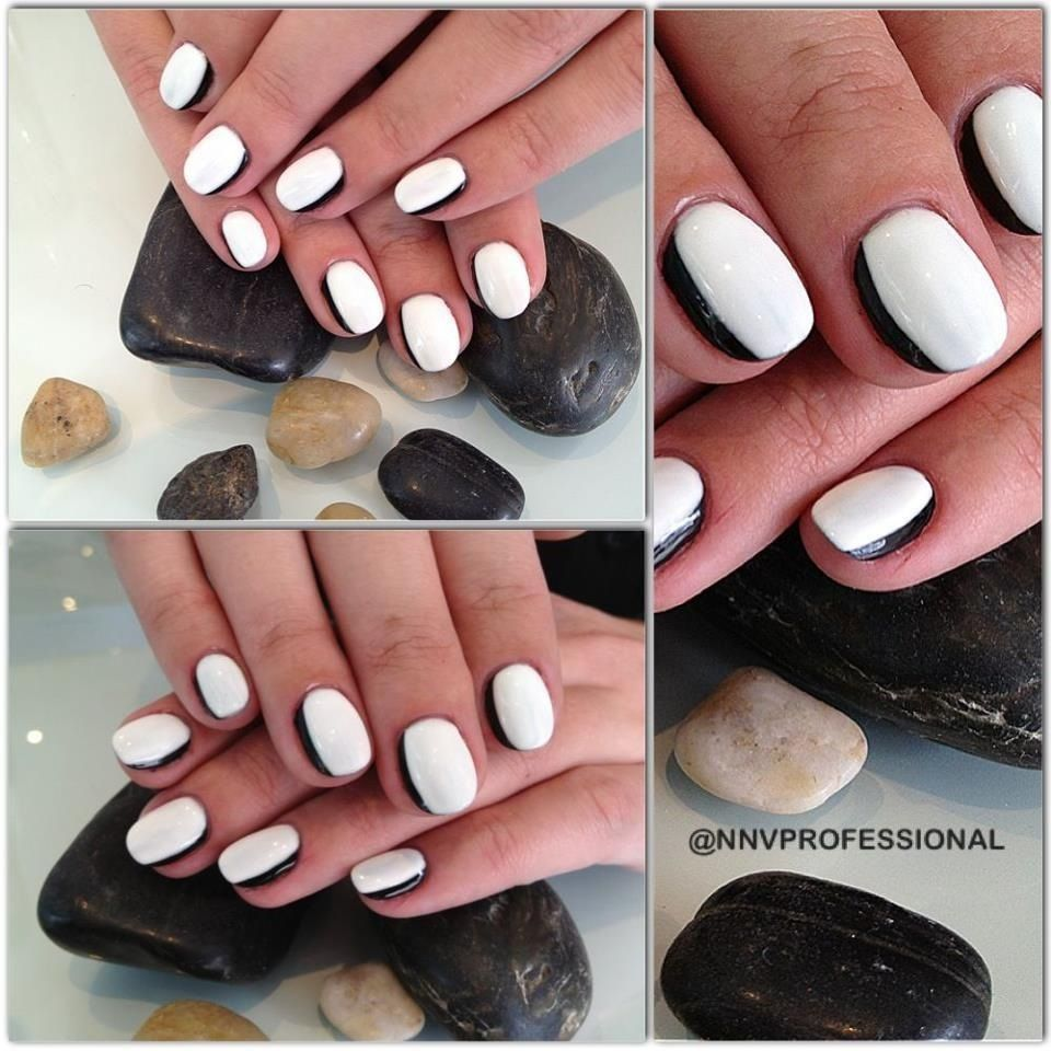 This nail design has everything thats HOT! Pale, dark, and two-tone ...