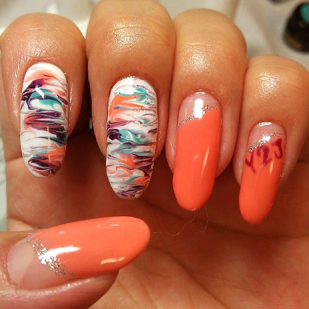 My nail #nail #nails #Marble #orange #summer #y2j #Padgram