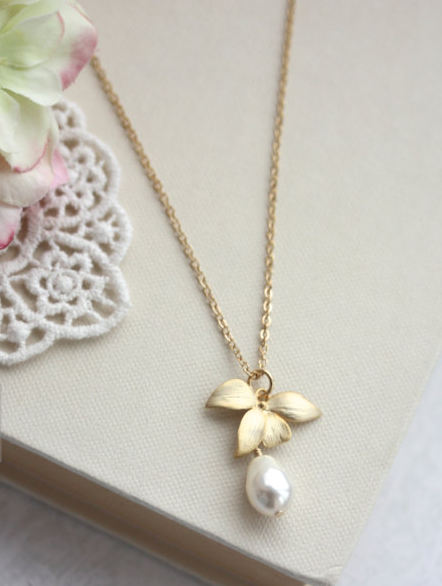 Orchid Flower Pearl Gold Necklace Orchid Jewelry Cream White