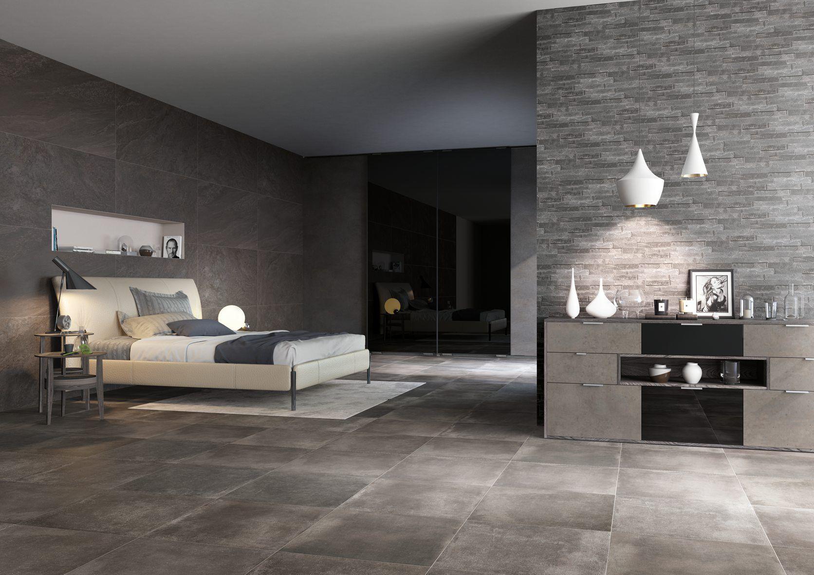 Un\'idea d\'arredo moderna per una camera da letto dai colori scuri e ...