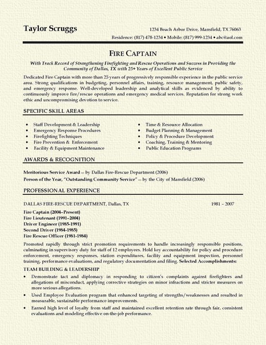 Fireman Resume Example Resume examples, Firemen and Firefighter - Fire Training Officer Sample Resume