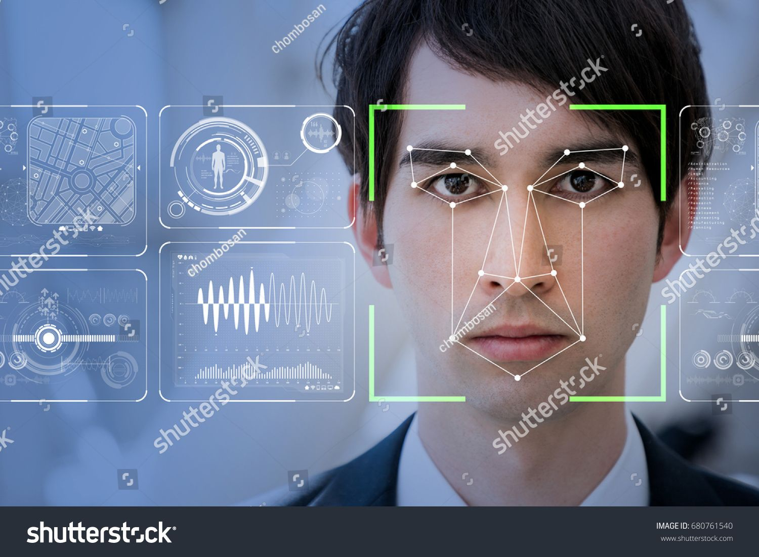 Facial Recognition System concept. Gesichtserkennung, Pi