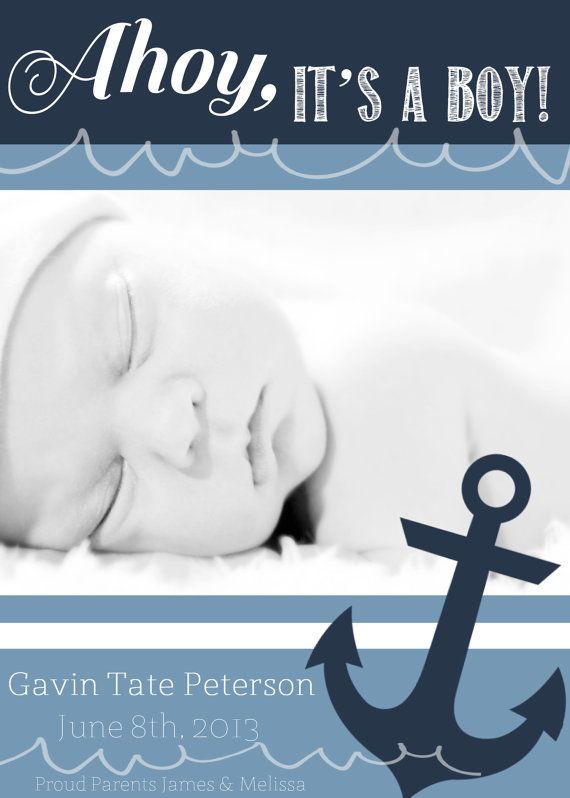 ahoy its a boy announcement customized card by shesmytuesday 1200