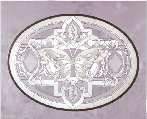 Tiffany Butterfly in Whites Glass Occasional Side/Accent Table