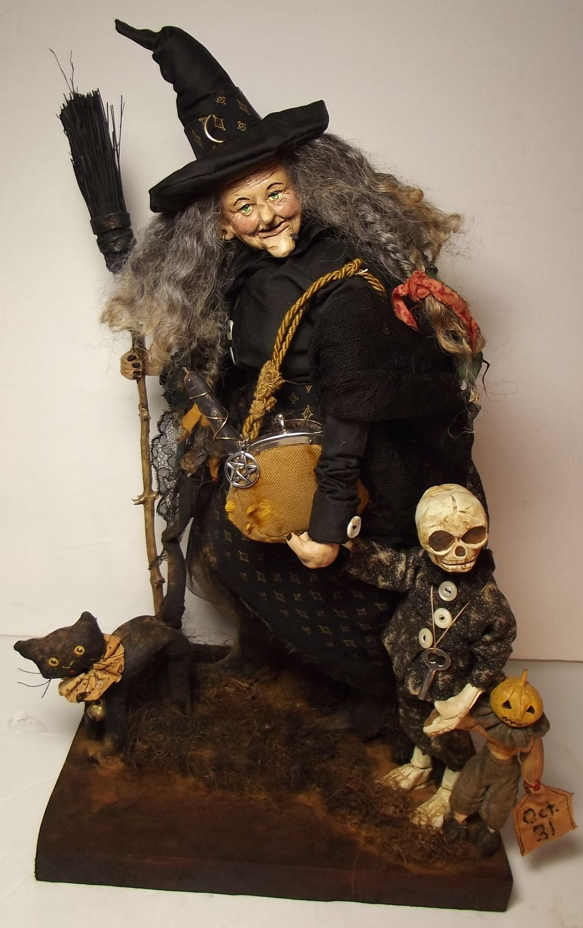 Handmade Witch~Skeleton Guy~Little Jack O Lantern Guy~& Cat By Kim Sweet~Kims Klaus~Vintage