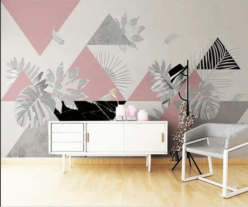 Simple Modern Triangle With Leaves Geometric Wallpaper Wall Etsy Bedroom Wall Designs Wall Design Office Wall Design