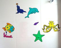 Set of 5 Sea Life Window Decals, Bathroom Decoration Set, Sea Life Bath Decal, Bath Tile Decal, Mirror Decal, window cling