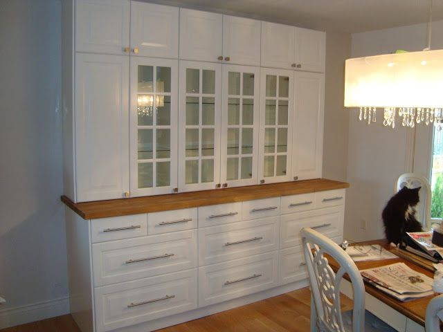 Dining Room Storage Using IKEA Lindingo Kitchen Cabinets And Oak Butcher Block Counter