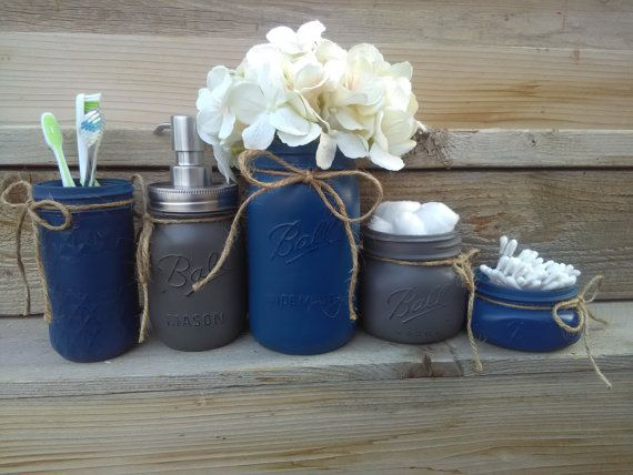 Navy Bathroom Decor And Gray Mason Jar Set Painted Jars