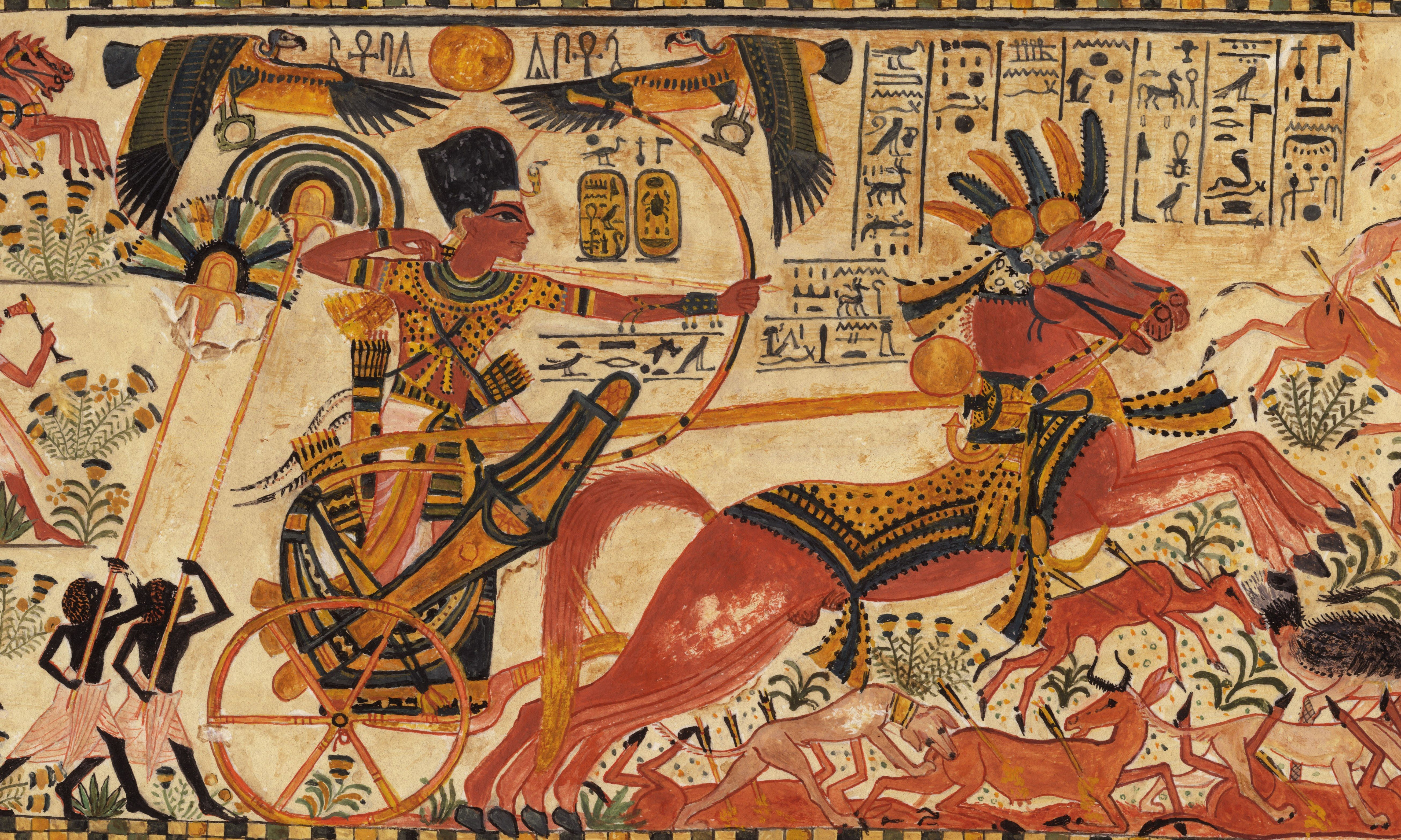 Tutankhamun Hunting In His Chariot Pulled By Two Horses The King Is