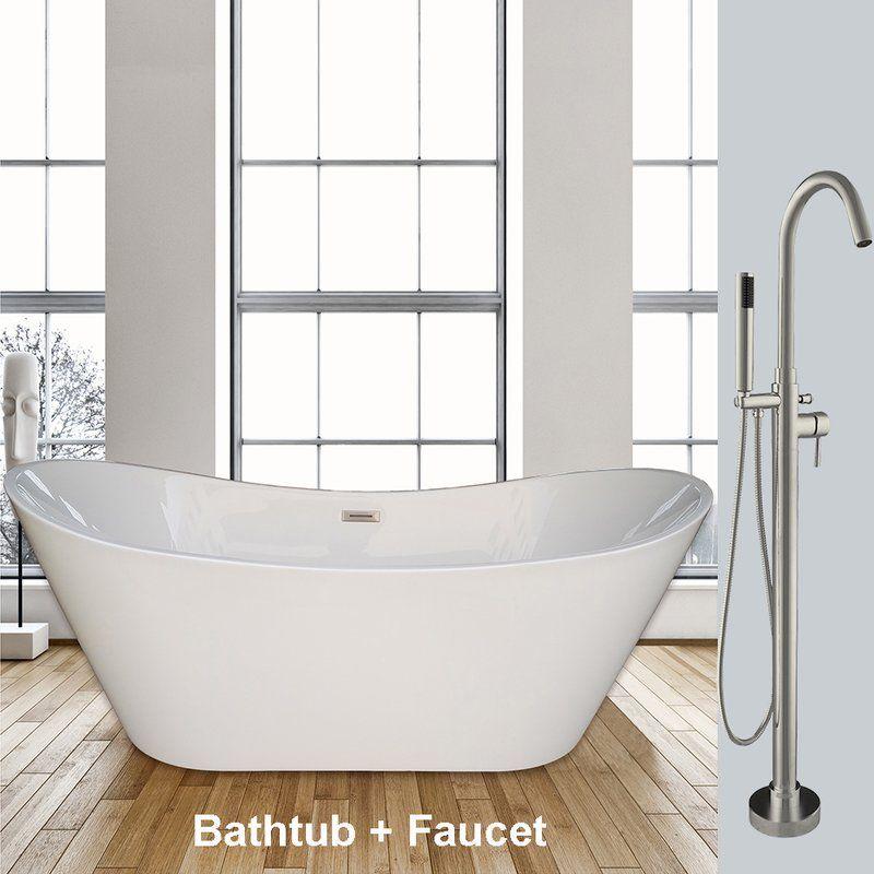 63 Collette Freestanding Acrylic Tub Signature Hardware 1 768 95 1 999 95 Free Standing Bath Tub