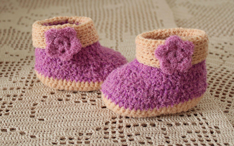649f1c998059f Booties baby socks children's clothing crochet purple cream for ...