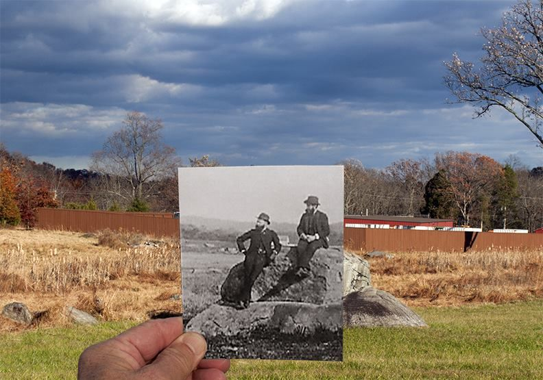 """""""1st PA Artillery, Hampton's Battery C & F - Hampton Battery Rock, 2 veterans seated upon it. Shriver house in background. 1889"""" (GNMP archive, photo #SF-19P-099)"""