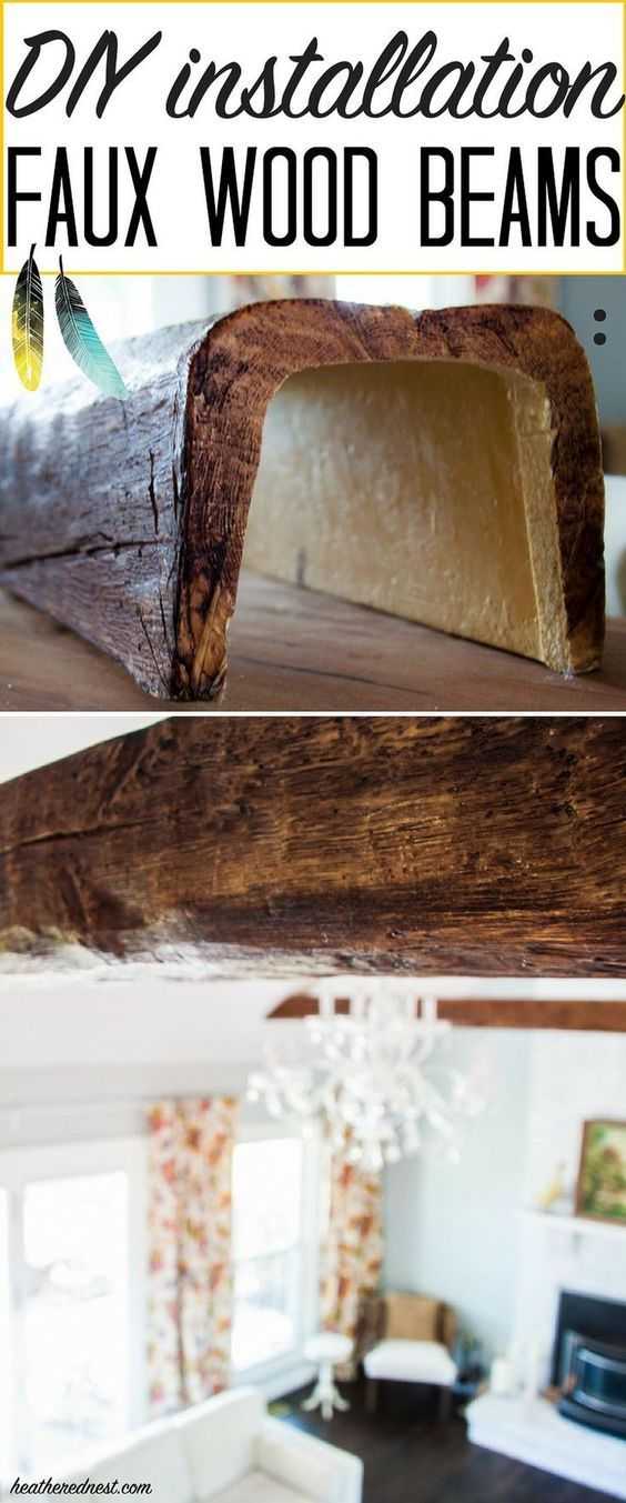 WOW! They look just like real WOOD BEAMS! Faux beams are super affordable! Learn how to install faux beams with this popular DIY tutorial from http://heatherednest.com