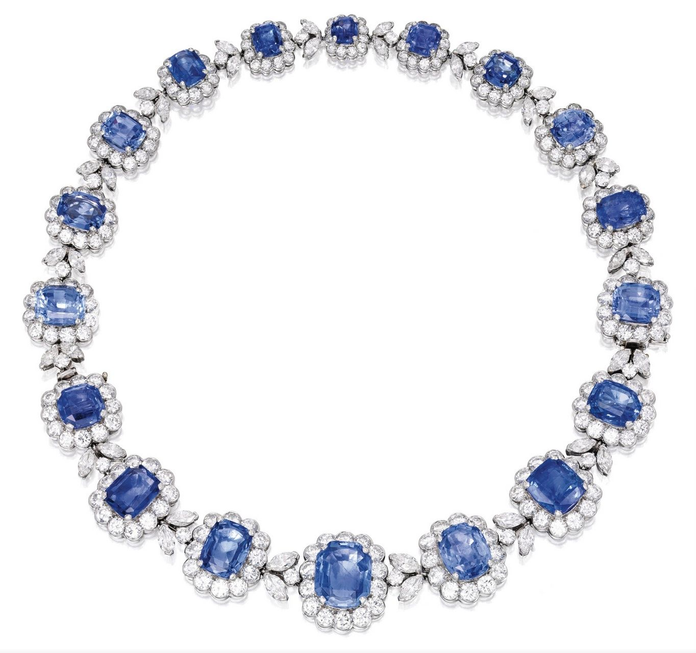 Lot 346 - PLATINUM, SAPPHIRE AND DIAMOND NECKLACE-BRACELET COMBINATION, VAN CLEEF & ARPELS