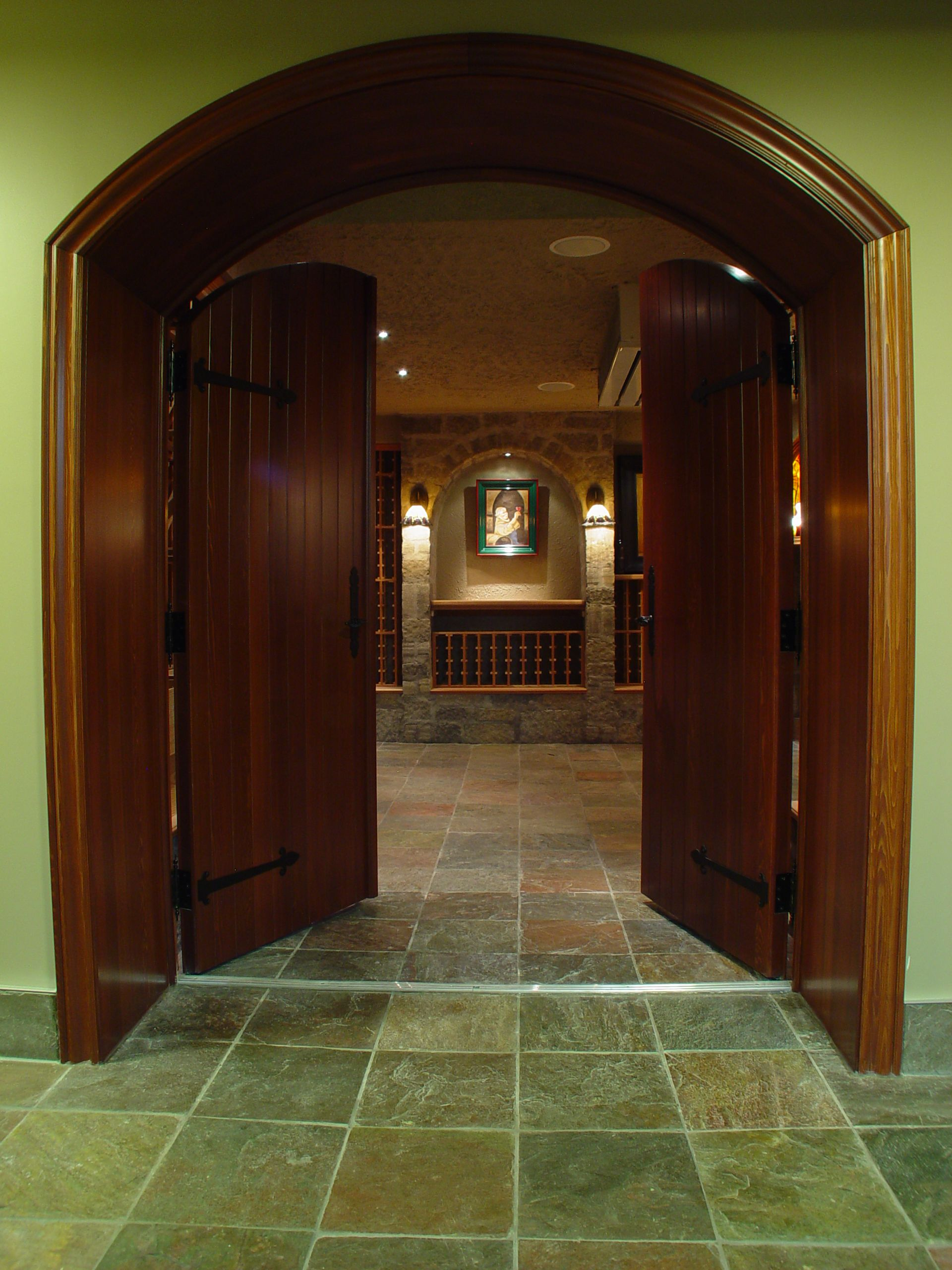 Custom Arched Double Door Wood Wine Cellar By Genuwine Cellars We Are Pleased To Create Your Doors In Gl Rustic Styles Modern