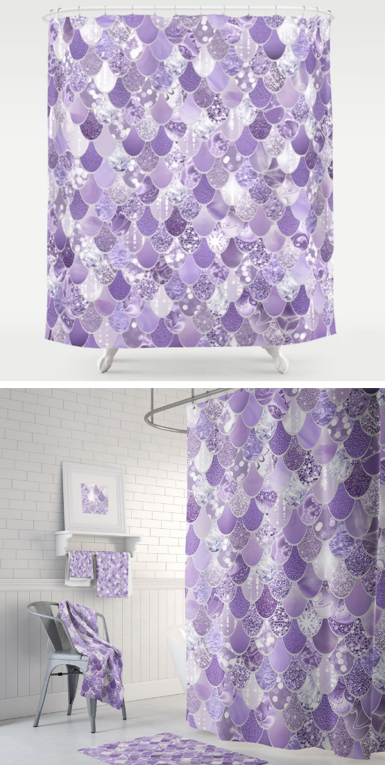 Purple Sparkles Mermaid Shower Curtain With Matching Towels And