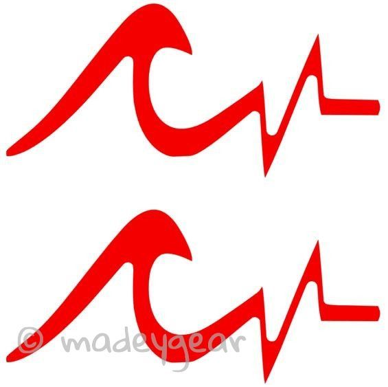 Window Vinyl Decal Sticker Sports Surfing Heartbeat Wave Qty - Car window decal stickers sports