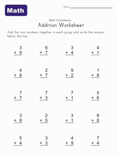 simple addition worksheet 1 -- doesn\'t require an account to ...