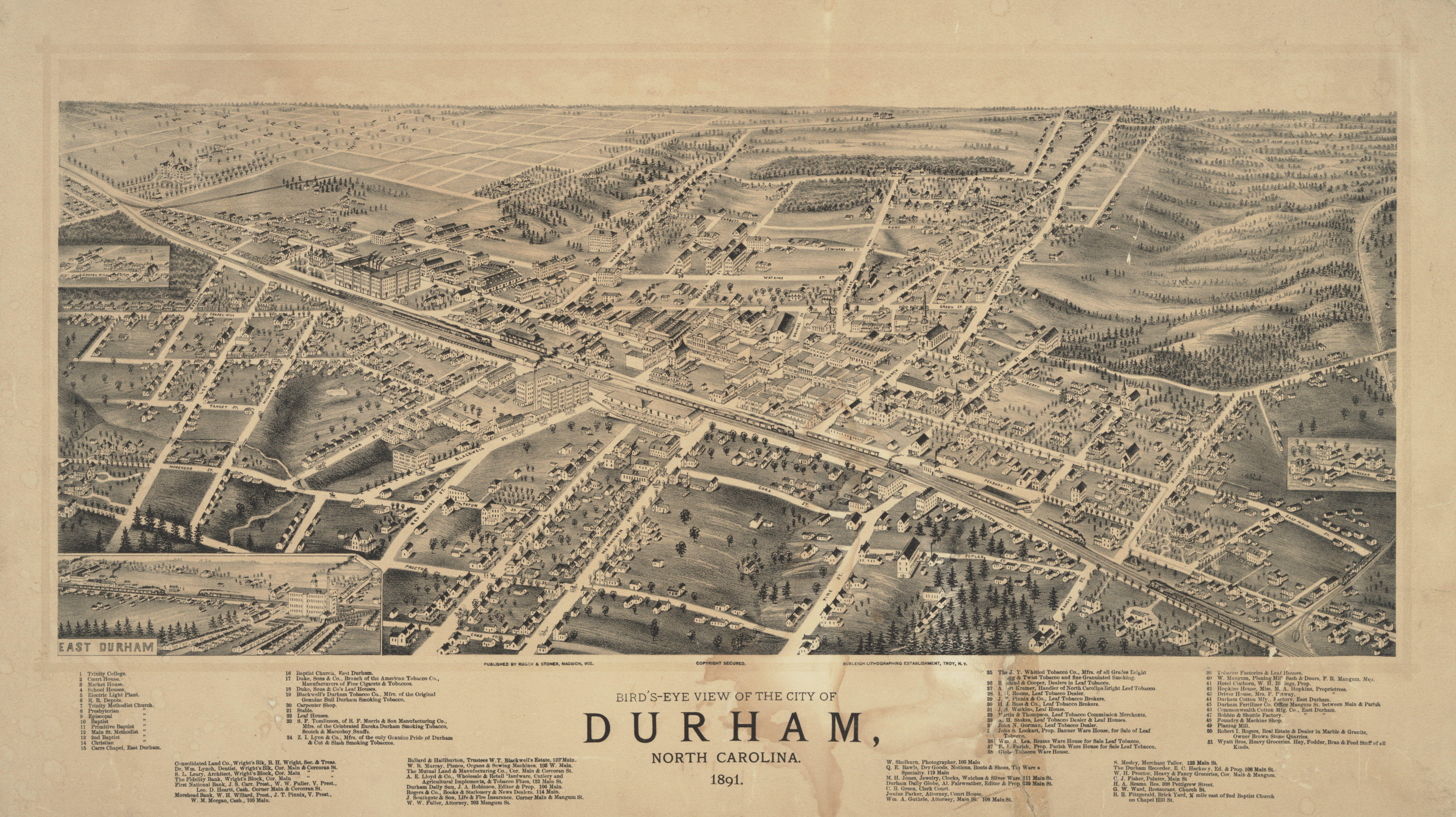 1891 Bird Map Of Durham Personal Pinterest Durham