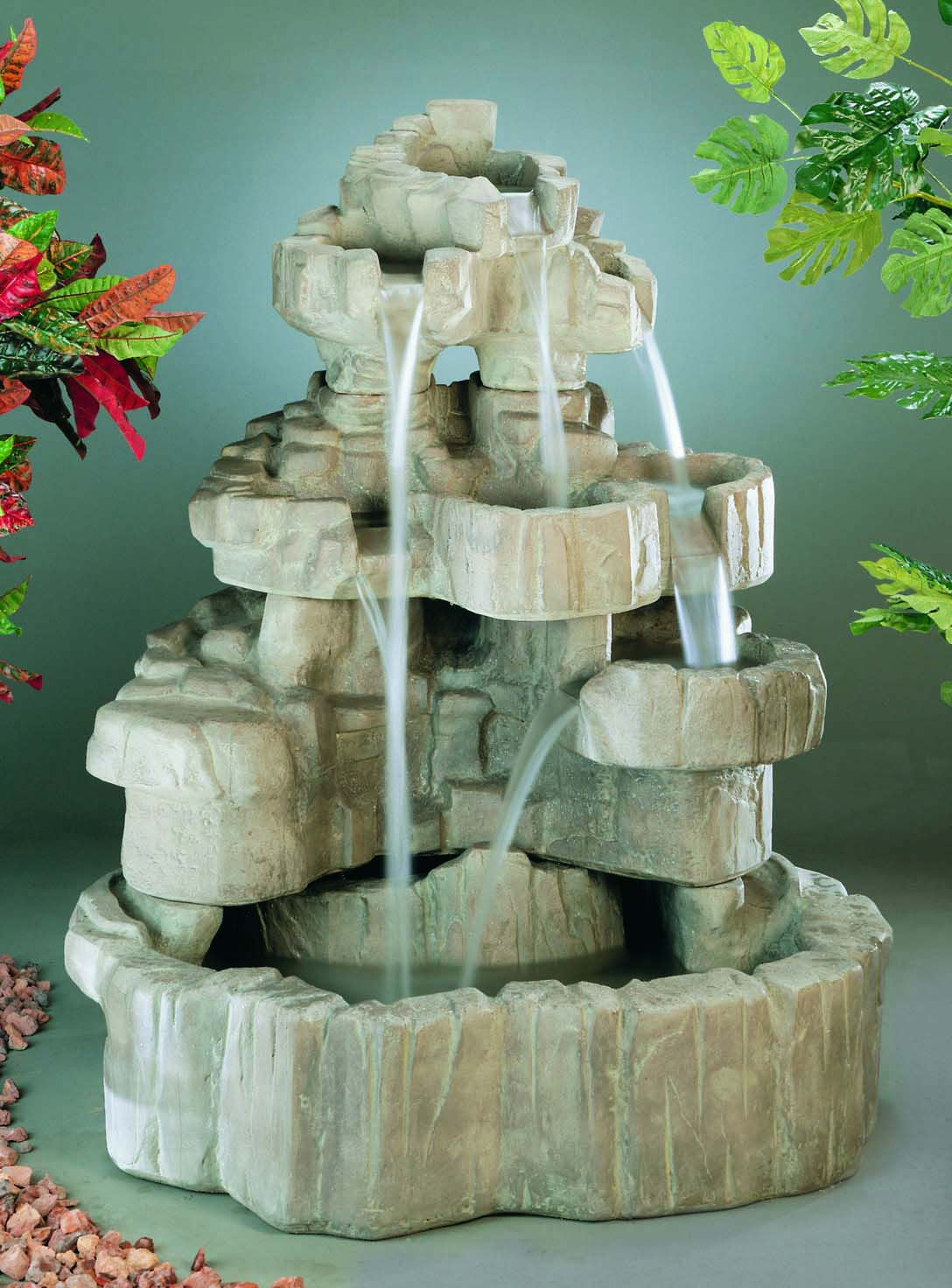 Large Cast Stone Rock Falls Fountain By Henri Studio