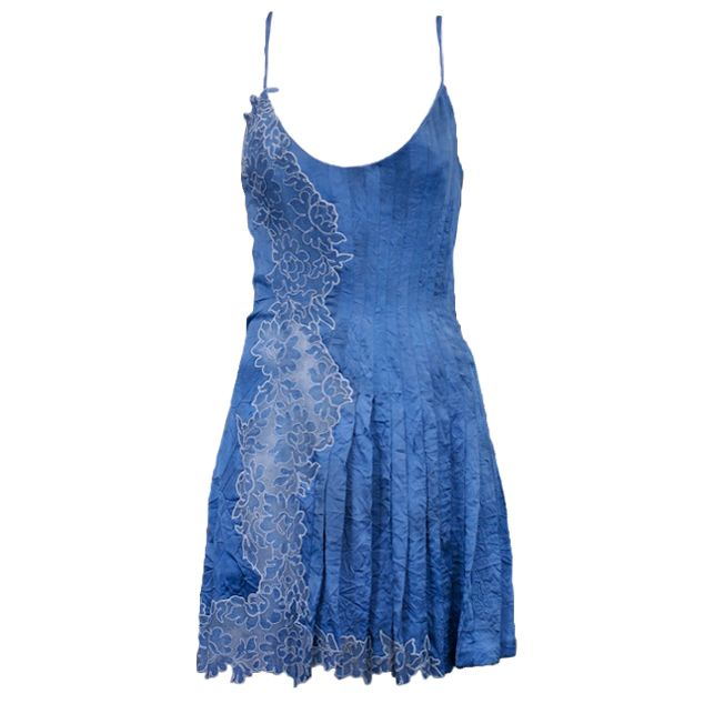 Gianni Versace silk and lace denim effect mini slip dress. Sheer lace panel undulates up from hem to hip   Italy, 1990's