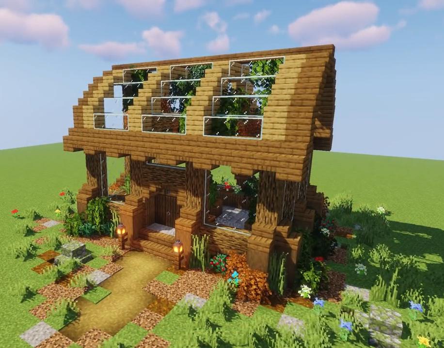Invernadero Cute Minecraft Houses Minecraft Designs Minecraft Greenhouse