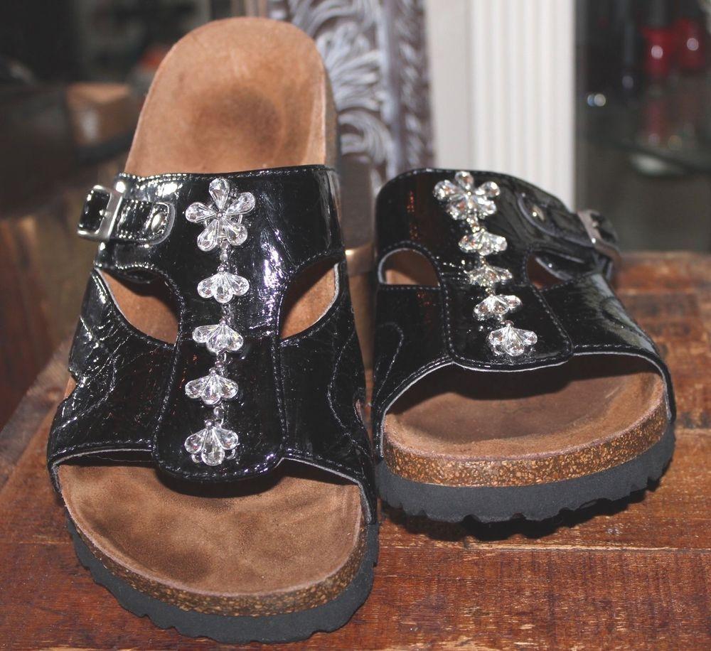 Betula Birkenstocks Black Patent Leather Rhinestone Sandals 39 Women 8-8.5 #BirkenstockBetula #SliponSandals