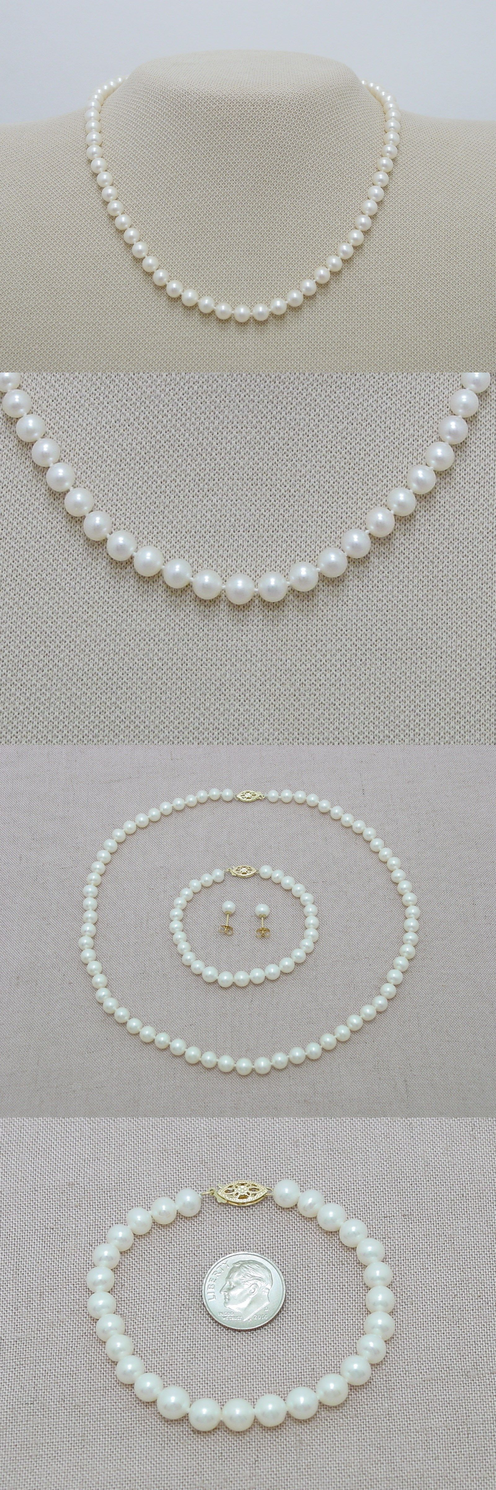 Pearl white mm freshwater pearl necklace bracelet
