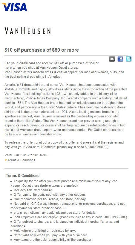 picture regarding Van Heusen Printable Coupons known as Van Heusen: $10 off $50 Printable Coupon Discount codes