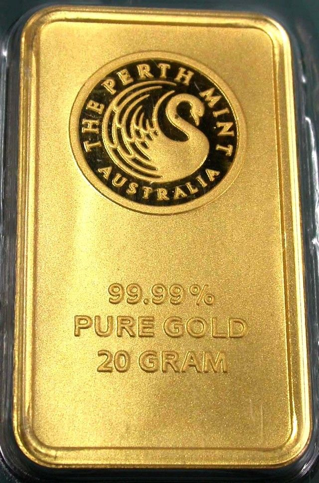 Certified 20 Gram Perth Mint Gold Bar Gold Bullion Coins Gold Purchase Gold Money
