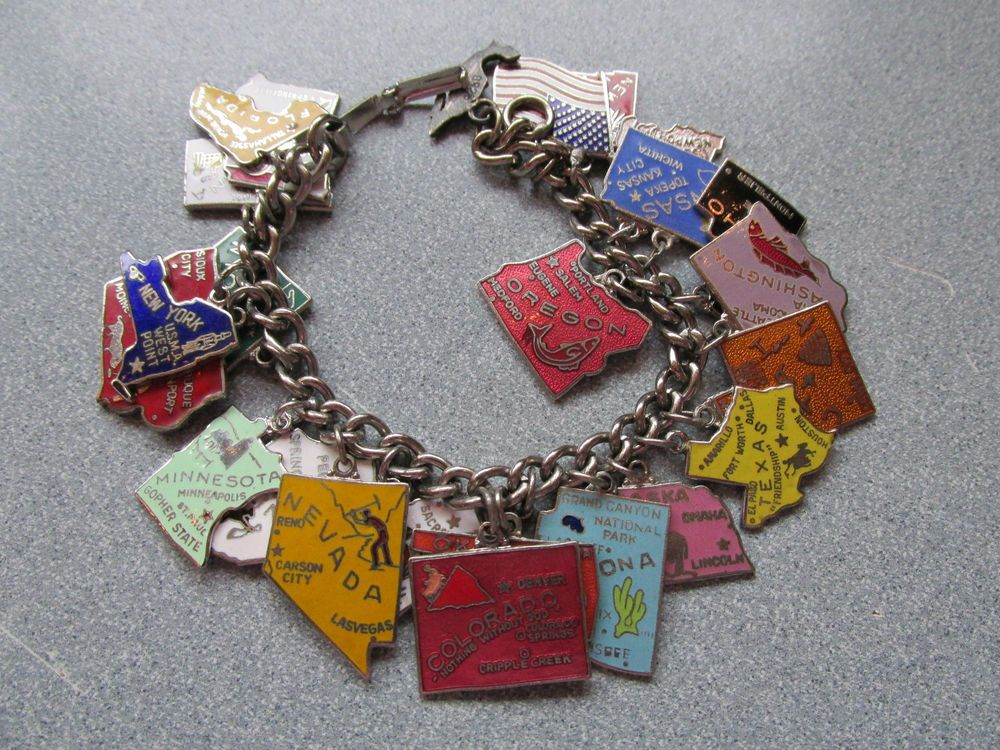 Vintage Enamel Sterling 24 State Charms on Charm Bracelet 7