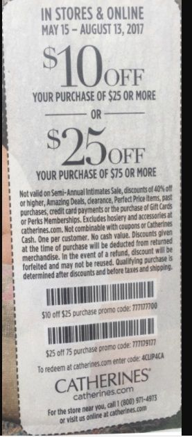 Get 10 Off Orders Over 25 Or 25 Off Orders Over 75 At Catherine S With This Printable Coupon From Goodshop Catherines Store Coupons Coupons