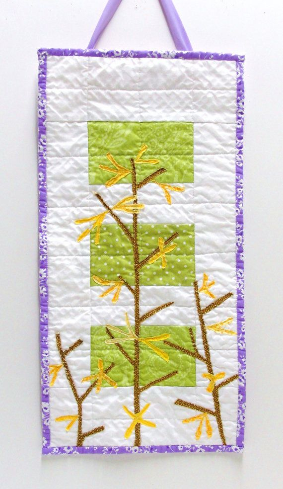 Forsythia wall quilt - wall art quilt in green, yellow, brown and ...