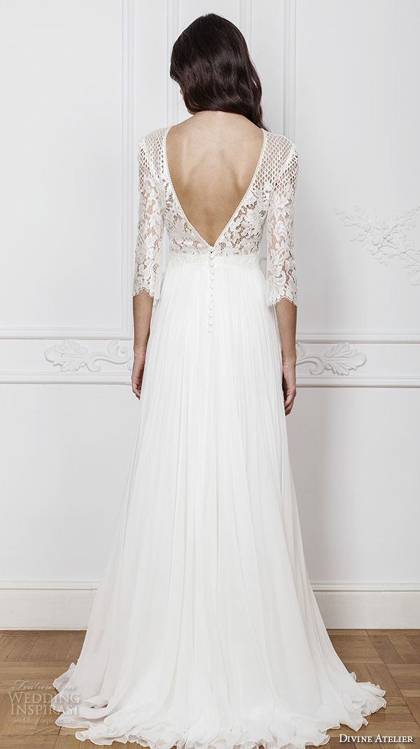 1b246ab9 divine atelier 2016 bridal gowns three quarter sleeves illusion jewel  straight across neckline embellished bodice modern a line wedding dress  with split v ...