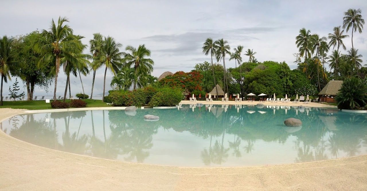 Le Meridian Hotel Tahiti  Largest white sand bottom pool in French Polynesia.
