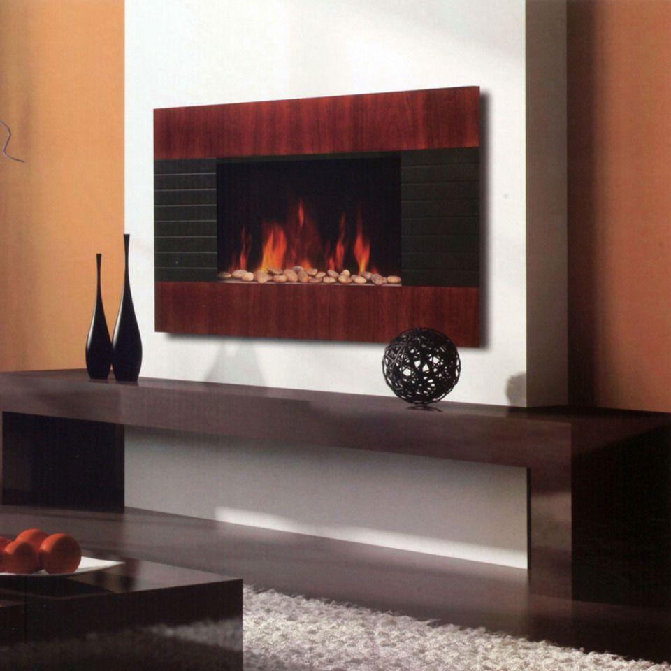 Prolectrix Mahogany Electric Fireplace Heater with Remote Beyond