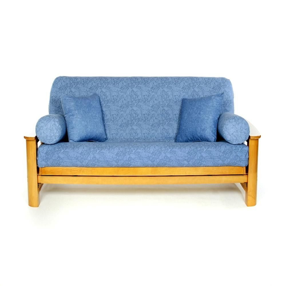 This Full Size Futon Cover By Lifestyle Covers Features A Light Blue Denim Look Printed Fabric Design That Is Crafted To Stand The Test Of Time