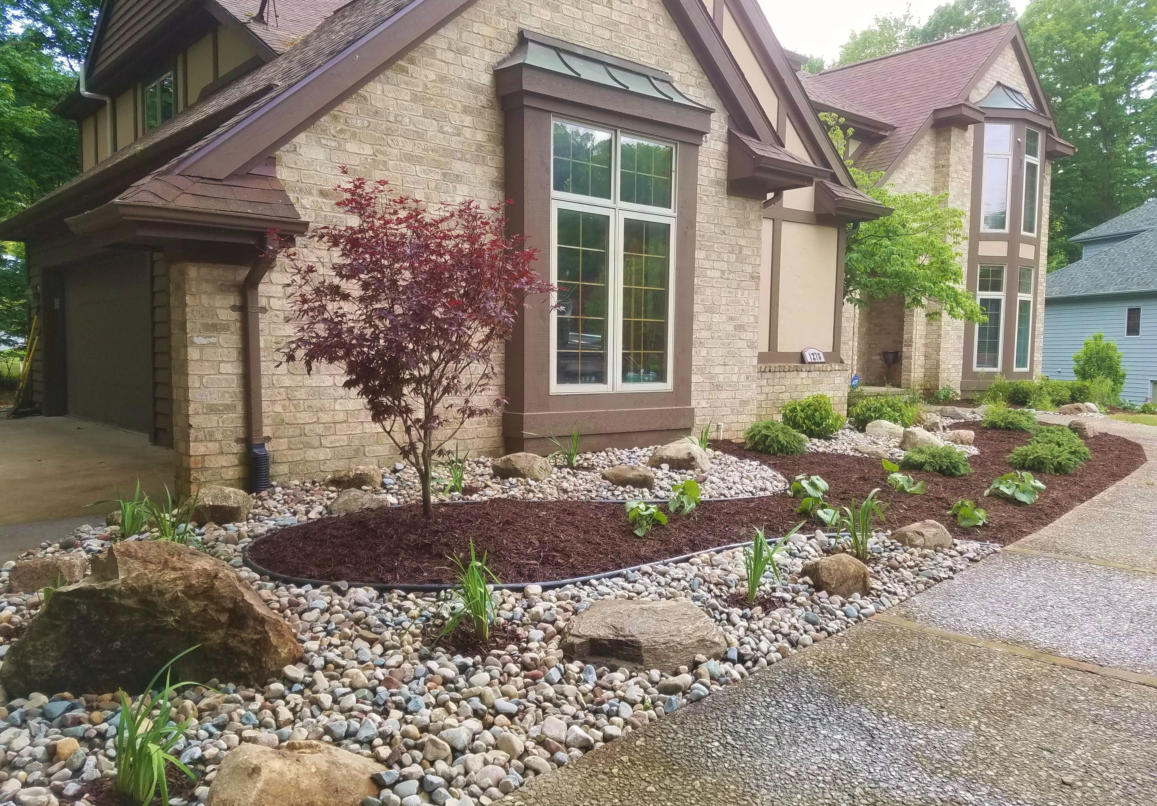 Front Yard Update Adding A Mixture Of Stone And Mulch
