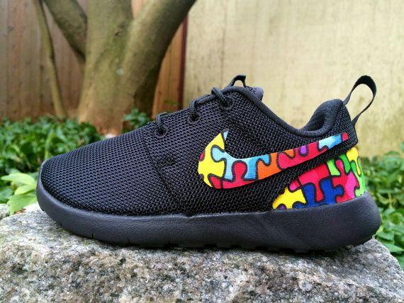 09519a8991fa CHILD YOUTH Autism Awareness Custom Nike Roshe by GrabbKicks Roshe Run Shoes
