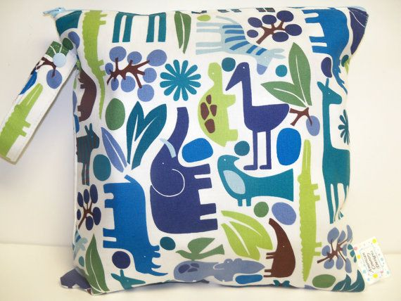 Small Wet Bag  Wet Bag  11 X 11  2D Zoo Blue by American Country Designs http://www.americancountry.etsy.com