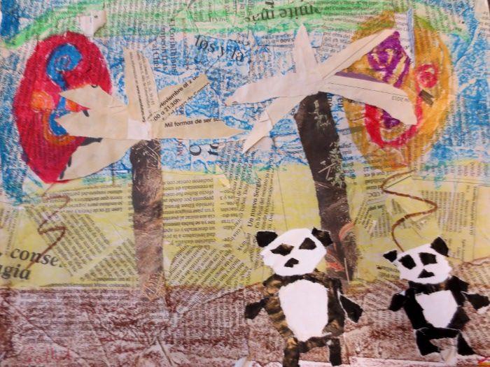 OSOS PANDA: papel de periódico, papel charol, folios blancos y ceras blandas.  Actividad realizada por alumnos de 3º de EP.