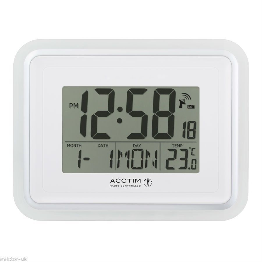 Acctim 74572 Delta Radio Controlled Digital Lcd Alarm Clock Desk