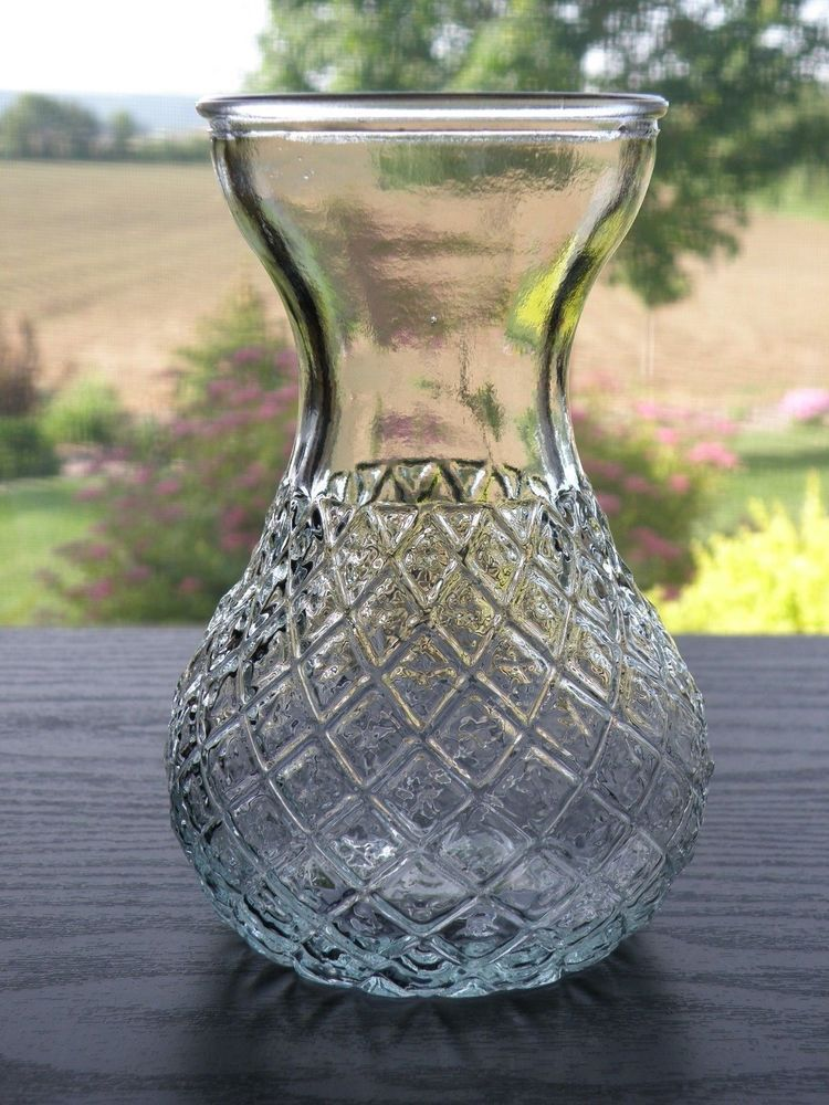 Heavy Clear Glass Diamond Pattern Hyacinth Other Bulb Forcing Vase 5