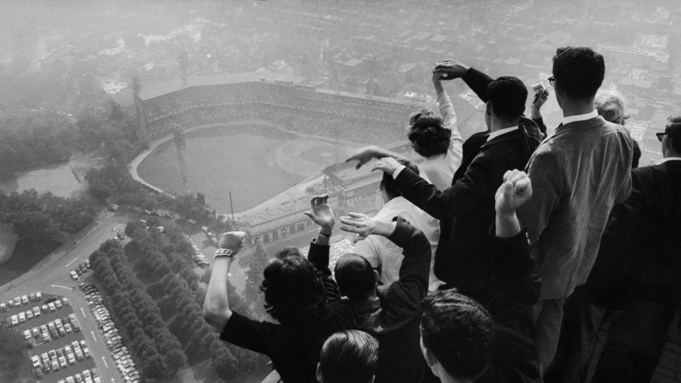 A shot from atop Pittsburgh's Cathedral of Learning during game 7 of the 1960 World Series. The Pirates defeated the Yankees with a walk off home run by Bill Mazeroski. Photo was taken moments after the home run