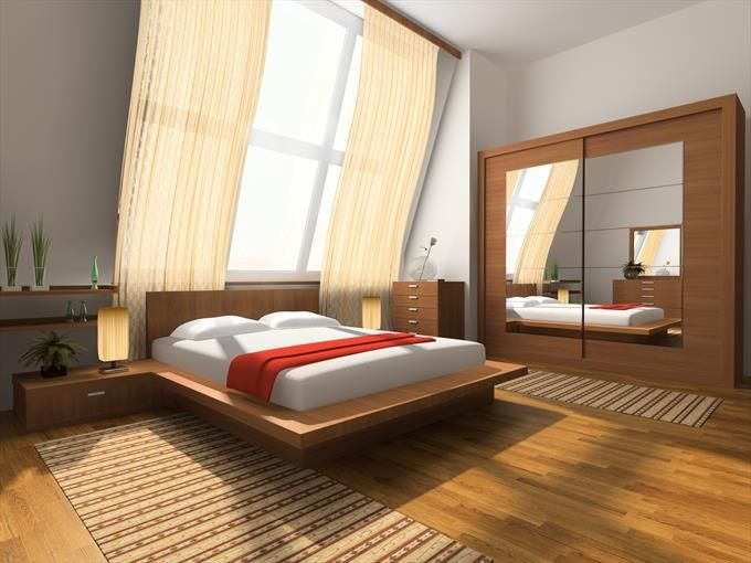 Contemporary bedroom with freestanding modern wardrobe
