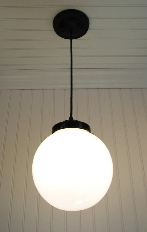 Milk Glass Pendant Light Large Globe