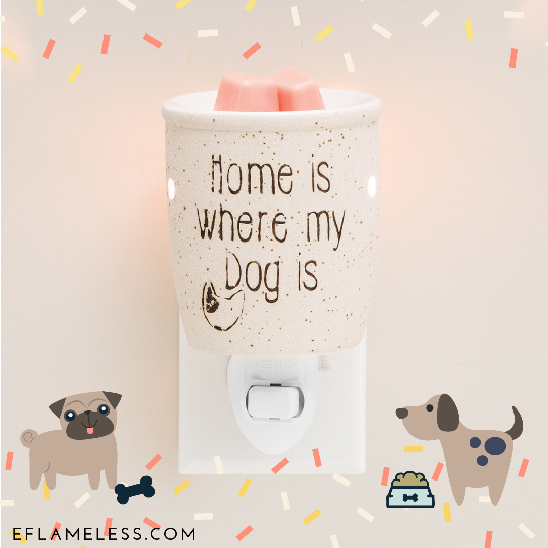 5abf7ca1af Home is where my dog is! Cute ceramic Scentsy wax candle warmer. Safe and  pet friendly ways to make you house smell good. Bull terrier doodle drawing.