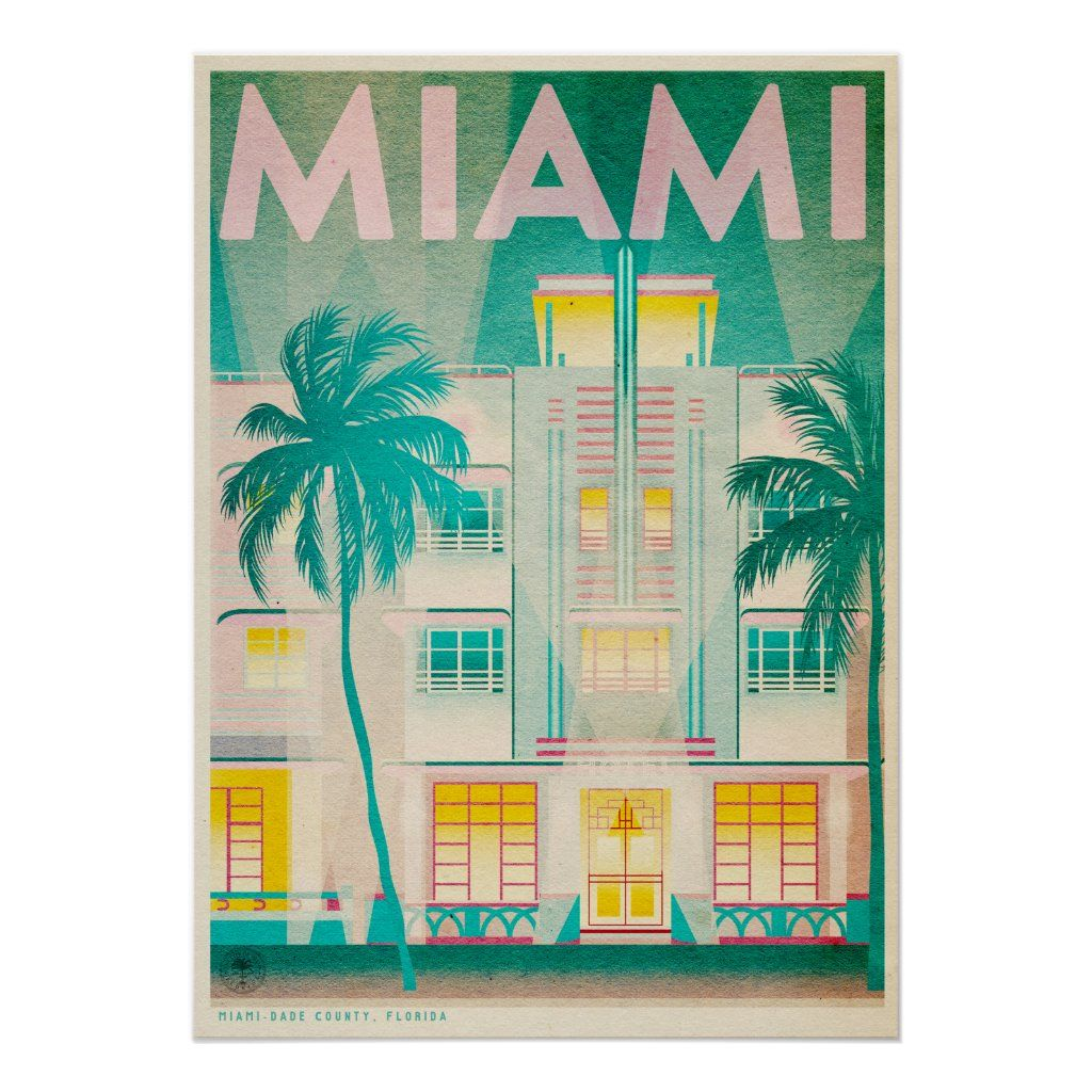 Vintage Miami Ocean Drive Travel Poster Zazzle Com Miami Art Deco Vintage Postcards Travel Travel Postcard