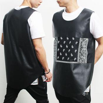 Avant garde Bandana Paisley Sleeveless Leather Tank Top